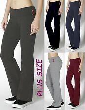 BLACK/NAVY/GRAY Stretch QUALITY YOGA Pants Fold Over/Flare Plus Size XL/1X/2X/3X