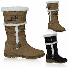 New Womens Ladies Fur Lined Warm Mid Calf Biker Boots Winter Under Knee  Shoes