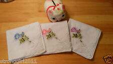 NEW LOT 6/12 PCS ART LACE ROSE LADIES lUXURY WEDDING HANDKERCHIEF ONLY  $1.49/PC