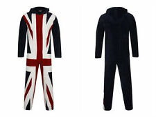 mens onesie pyjamas pajama all in one sleepsuit union jack sm med large xl  WOW