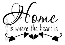 Home is Where the Heart Is Quote Vinyl Wall Art Home Decor Word Stickers Family