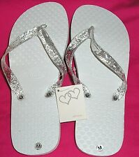 ZOHULA White Wedding Flip Flops with Organza Bag -S/M/L -  For Tired Party Feet!