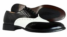 Mens Dress shoes Majestic Wingtip Oxford Lace Up Black White Leather Lining