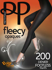 Pretty Polly 200D Fleecy Opaque Thermal Footless Tights, Black Thick One Size
