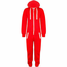 NEW KIDS BOYS GIRLS UNISEX PLAIN RED BLUE HOODED ONESIE JUMPSUIT AGES 3 TO 14