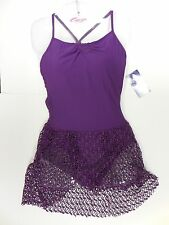 CAPEZIO  MESH SKIRTED PLEATED SYNERGY LEOTARD GRAPE 10188 BALLET DRESS LADIES