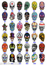 40 STYLE SKULL IRON ON SEW ON PATCH EMBROIDERED MOTIF APPLIQUE HARDCORE ART NEW