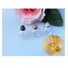 Glass Necklace Pendant Memory Bulb Charm Wide Mouth Opening Empty Bottle Vials