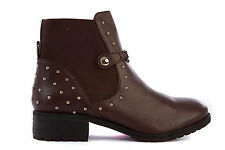 ARMANI JEANS WOMEN'S LEATHER ANKLE BOOTS BOOTIES NEW BROWN  F02