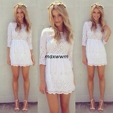 New Summer Dress Lace White Lady Hollowed Out Dresses Casual dress