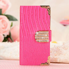 For Samsung iPhone LG Luxury Bling Leather Flip Wallet Case Magnetic Stand Cover