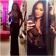 2015 Sexy Women V Neck Lace Black Maxi Party Evening Cocktail Bandge Long Dress