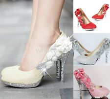 Women Sequin Gorgeous Wedding Bridal Party Crystal High Heels Shoes SOZ