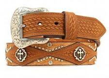 Nocona Western Mens Belt Leather Cross Concho Hair Copper N2496444