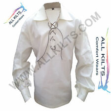 New Mens Scottish Off White(Cream) Jacobite Ghillie Kilt Shirt Small To 4XL