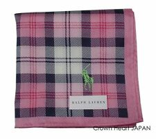 New Ralph Lauren Handkerchief / Mini Scarf Plaid Check Pink x Navy w/ Polo print