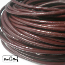 2mm Brown Round Real Genuine Leather Jewelry Cord For Bracelet Necklace Making