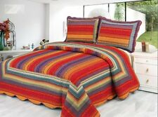 Premium 100% Cotton Striped Reversible Quilt Set
