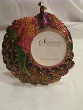 Tabletop Peacock Picture Frame Embellished with Enamel & Czech Crystals NWT