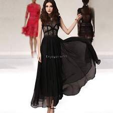 Women Beach Sexy Bridesmaid Wedding Gown Sleeveless Chiffon Lace Long Dress OO55