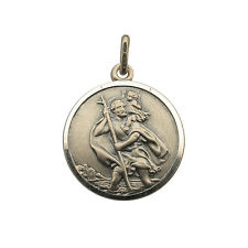 Antique Finish Sterling Silver 20mm St Christopher Pendant Chain & Engraving