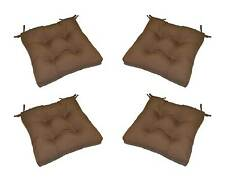 Set of 4 Indoor / Outdoor Solid Brown Tufted Patio Chair Cushions - Choose Size