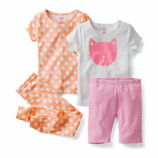 CARTERS BABY GIRL 4PC PAJAMA SET KITTY CAT POLKA DOTS PINK JAMMIES 2T 3T 4T 5T