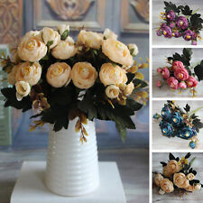 Hot 6 Branches Autumn Artificial Fake Peony Flower Wedding Hydrangea Decor