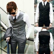 Mens Casual Double breasted Slim Fit Suit Tuxedo Dress Vest Waistcoat
