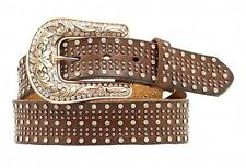 Nocona Western Womens Belt Leather Studded Crystal Brown N3487802