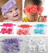Colorful Foot Flower Barefoot Sandals +Headband Set for Baby Infants Girls USTOP