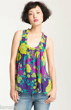 Ella Moss The Rosa Floral in Golds & Purples Relaxed Aline Tank XS $138 NWT Silk