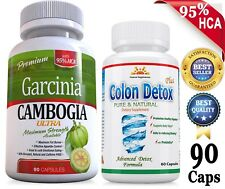 Strong 80% HCA GARCINIA Cambogia 180 +COLON DETOX/Cleanse  Weigth Loss/Digestion