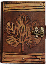 Refillable Leather Journal With Old Winter Leaf / Journal / Lock / Brown / Pad