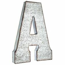 "Large 20"" Silver Galvanized Vintage Metal Letter Marquee You Choose Letter"
