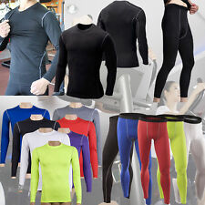 Mens Compression Base Layer Long Sleeve Under Shirts Top Tight Pants Sports Gear