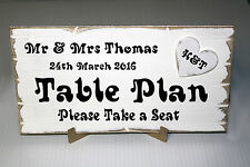 Personalised Rustic Wedding TABLE PLAN Sign. Shabby Chic Wooden Plaque