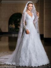 New Long Sleeve A-Line Lace Wedding Dress Bridal Gown Custom 4-6-8-10-12-14-16++