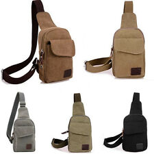 Men's Canvas Unbalance Backpack Purse Shoulder Sling Chest Hiking Bicycle Bags