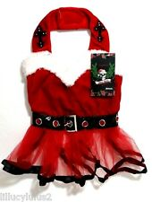 XS M New Bret Michaels Xmas SANTA BABY TUTU Dog Dress Pet Clothes Dog Shirt  Bow