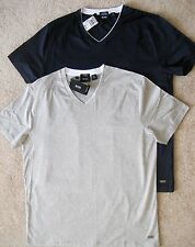 XL XXL $85 HUGO BOSS Canistro Mens T-Shirt SS Cotton Slim Fit V-neck Black Label