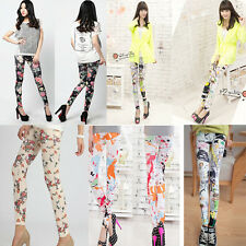 Fashion Women's Retro Rose Flower Print Leggings Tight Pants Elasticity Thin TOP