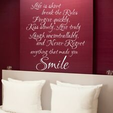 Life Is Short Love Wall Art Sticker home happy decal quote family lounge vinyl