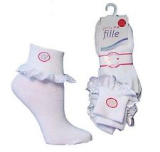 Childrens-Baby-Girls-Kids Extra Soft Frilly Lace Top Cotton Socks 3-6-12 Pairs