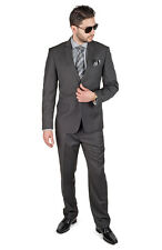 Slim Fit Suit 2 Button Dark Charcoal Grey AZAR MAN Flat Front Pants New Style