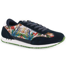 Just Hype Runner Womens Mens Trainers Suede Navy Floral New Shoes 3 4 7 8 9 UK