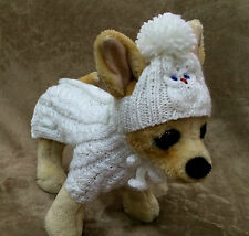 Pet Clothes  Apparel Hand-Made Spring Outfit White Sweater / Hat  for Small Dog