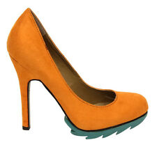 Ladies Odeon Orange Round Toe Faux Suede High Heel Court Size UK 5