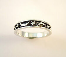 .925 Sterling Silver STAR & MOON BAND Ring Size 4,5,6,7,8 Stack NEW 925 04179