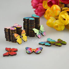 50/100pcs Mixed Butterfly Wooden Buttons 2 Holes Sewing Scrapbooking Cardmaking